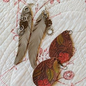 Two pairs! Leather feather earrings & punch leather earrings, boho perfect